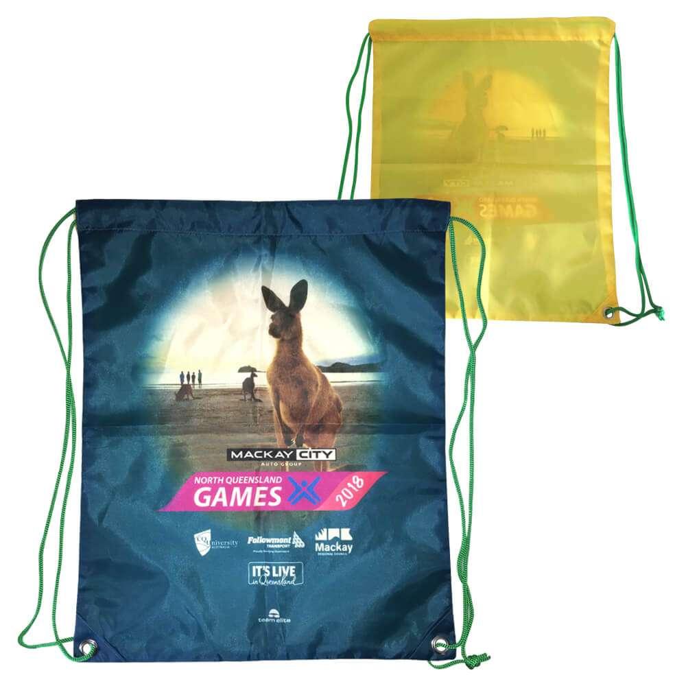 drawstring bag merchandise event sublimated