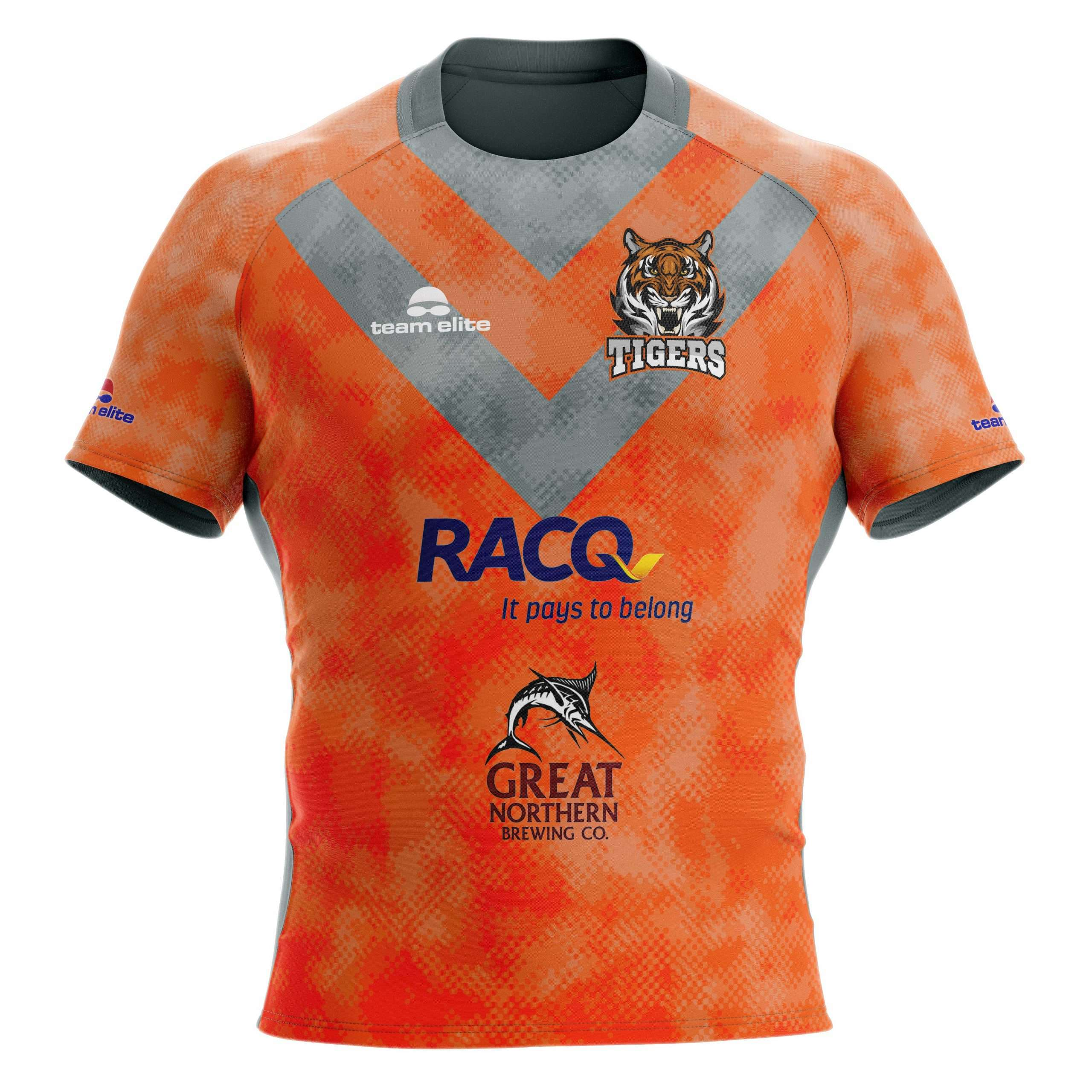 Rugby jersey front orange grey