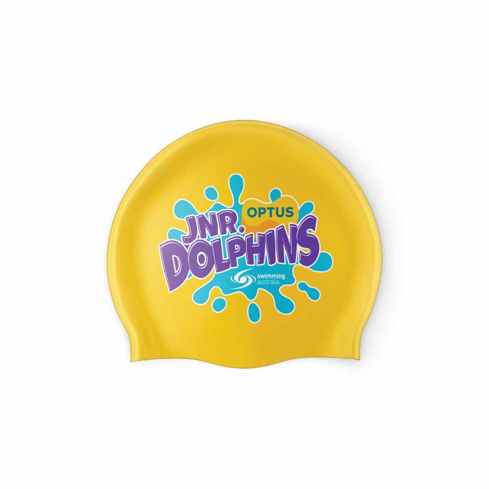 Jnr Optus Dolphins Swimming Cap Yellow-01
