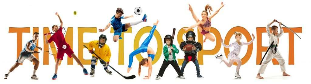 Creative collage of different photos of 9 models. Advertising, sport, healthy lifestyle, motion, activity, movement concept. American football, soccer, tennis volleyball box badminton rugby